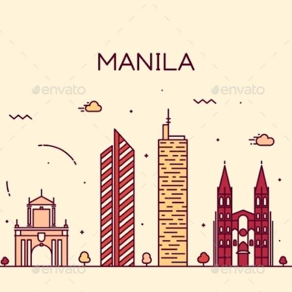Manila Skyline Trendy Vector Illustration Linear