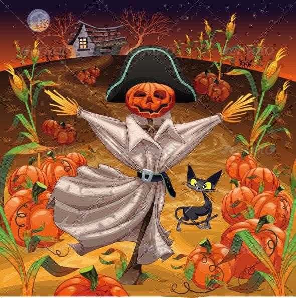 Scarecrow with Pumpkins - Halloween Seasons/Holidays
