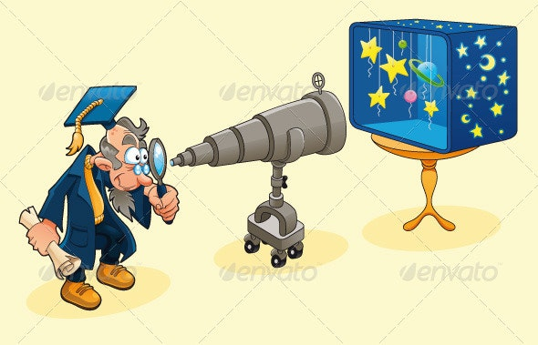 Scientist with Telescope - Technology Conceptual