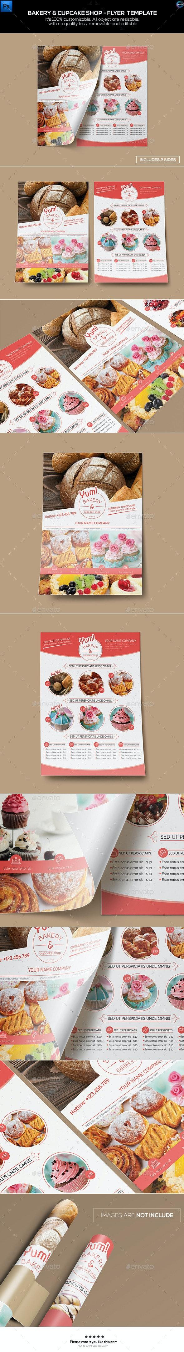Bakery & Cupcake Shop - Flyer Template - Restaurant Flyers