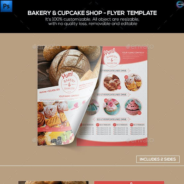 Bakery & Cupcake Shop - Flyer Template