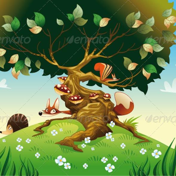 Cartoon Landscape with Animals.