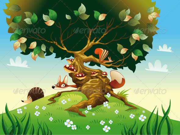 Cartoon Landscape with Animals. - Animals Characters