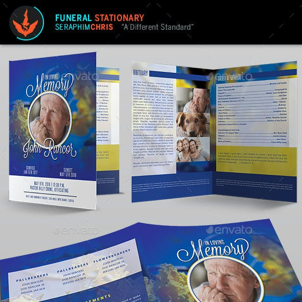 Premium Blue Funeral Program Template