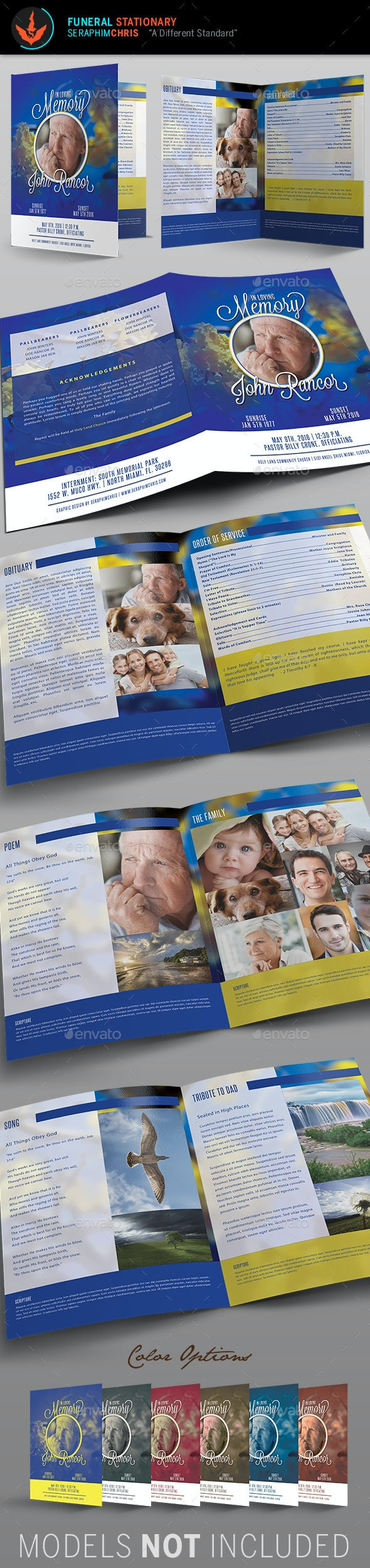 Premium Blue Funeral Program Template - Informational Brochures