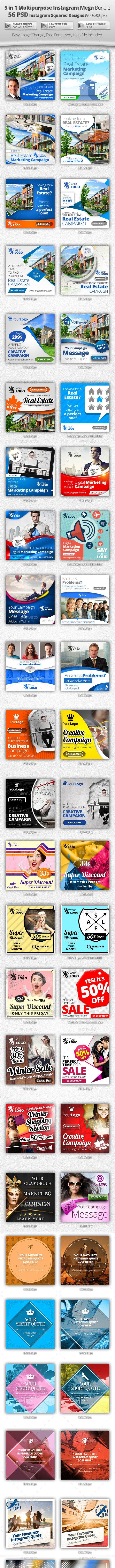 56 Instagram Design Templates - 5 in 1 Bundle - Banners & Ads Web Elements