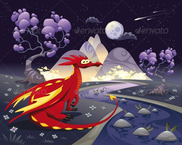 Dragon in landscape in the night.  - Monsters Characters