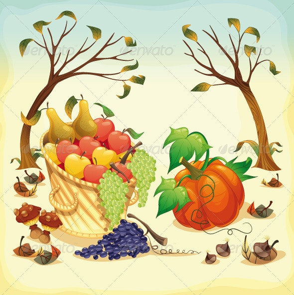 Fruit and vegetables in Autumn. - Food Objects