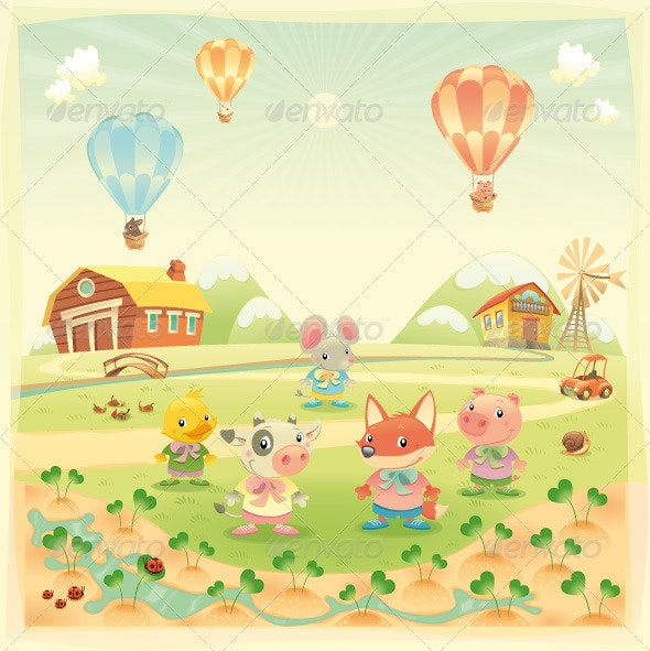 Baby farm animals in the countryside - Animals Characters
