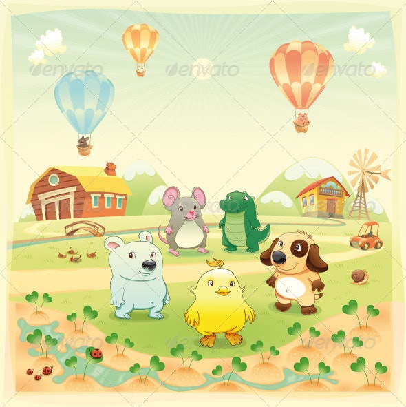 Baby farm animals in the countryside.  - Animals Characters