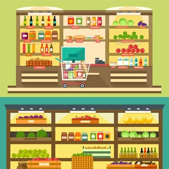 Supermarket Shelves with Food and Drink