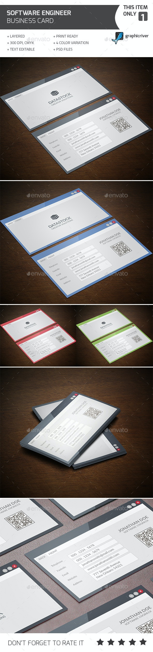Software Engineer Business Card - Industry Specific Business Cards