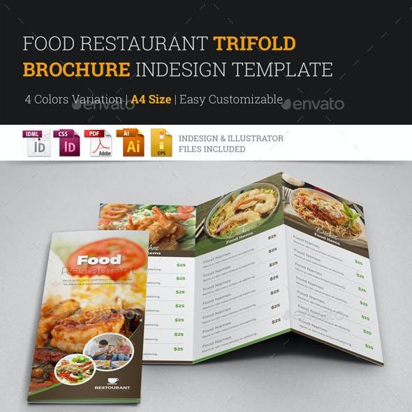 Food Restaurant Trifold Brochure InDesign Template
