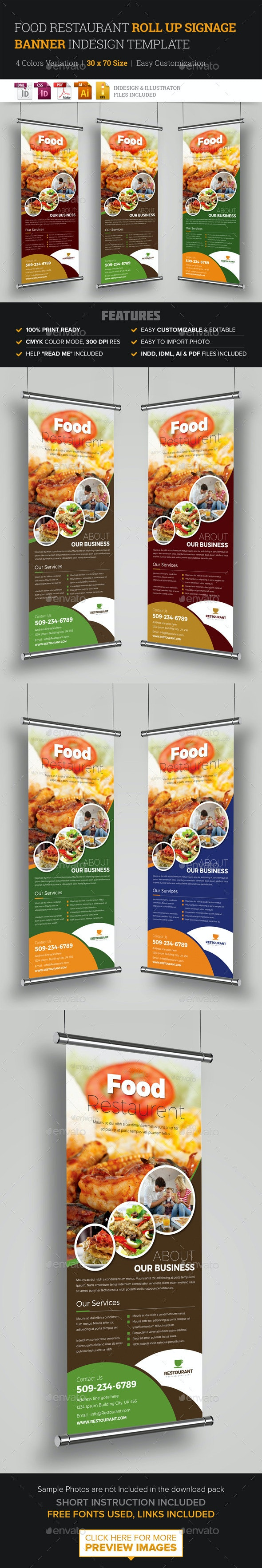 Food Restaurant Roll Up Banner Signage Template - Signage Print Templates