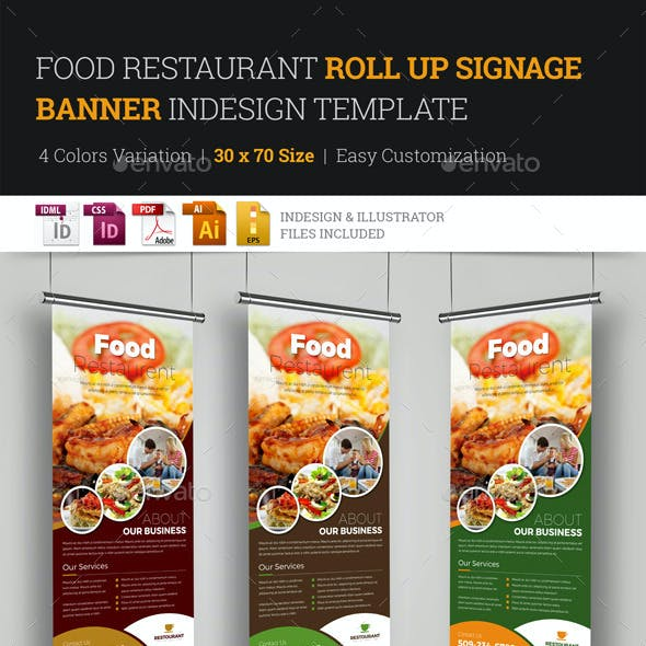 Food Restaurant Roll Up Banner Signage Template