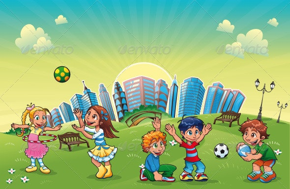 Boys and girls are playing in the park. - People Characters