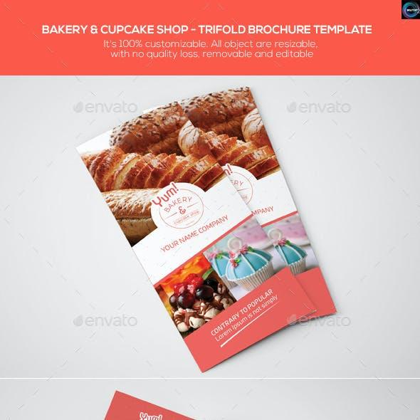 Bakery & Cupcake Shop - Trifold Brochure Template