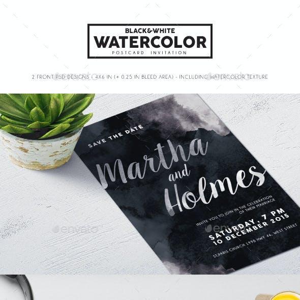 Black & White Watercolor Invitation