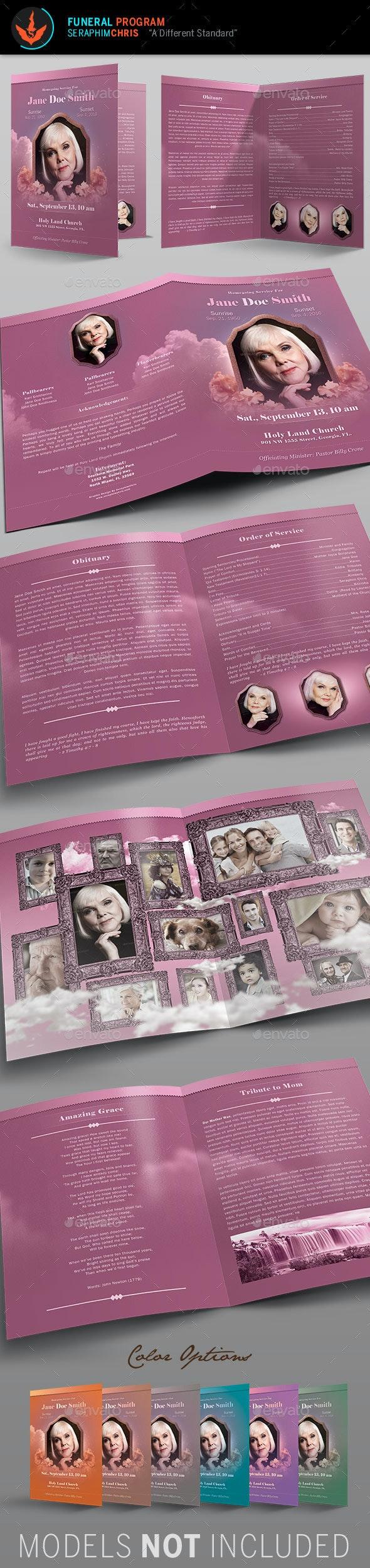 Funeral Program Full Page Bi-Fold Template - Informational Brochures
