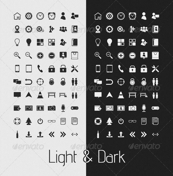 Simple Light & Dark UI Icons - Web Icons