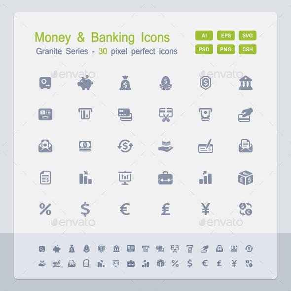 Money & Banking Icons - Granite Series