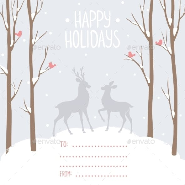 Postcard Winter Deer
