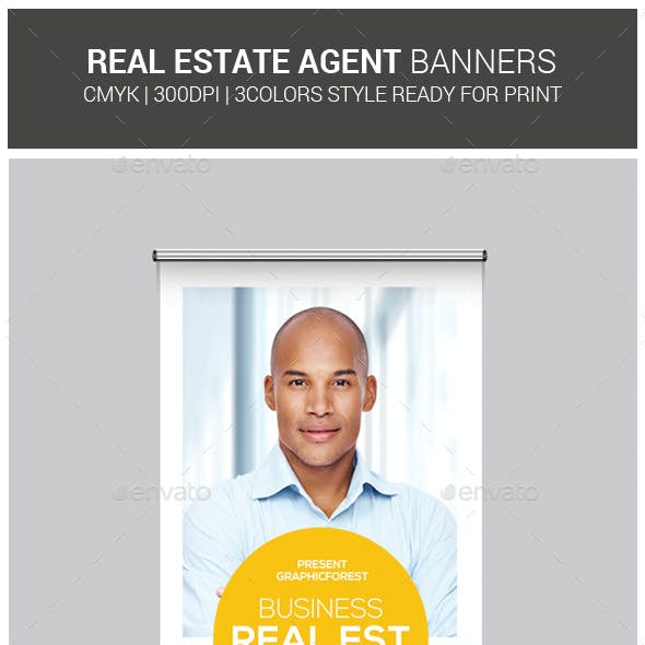 Real Estate Agent Roll-Up Banners Templates