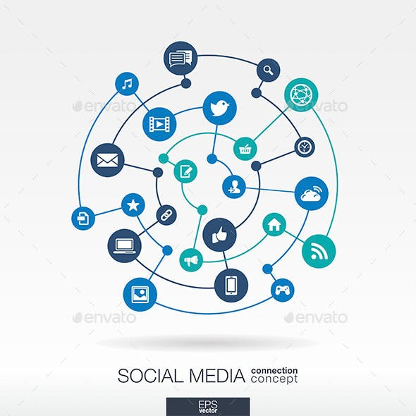 Social Media Connection Concept with Icon Circles