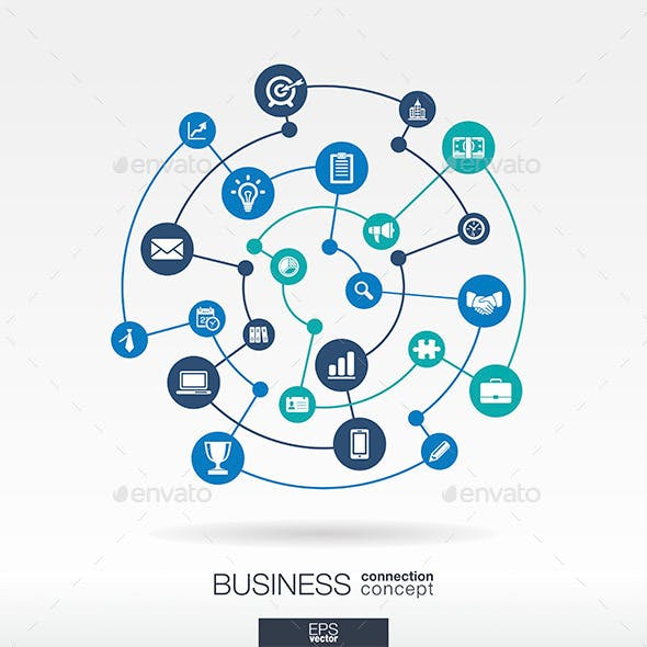 Business Connection Concept with Circle Icons Set