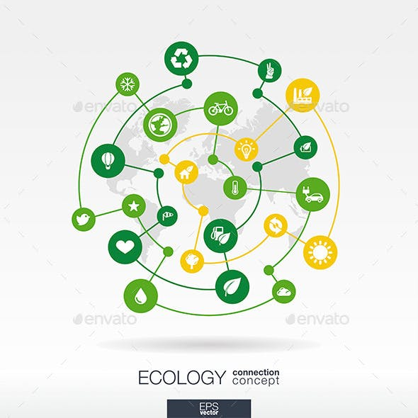 Ecology Connection Concept with Circle Icons Set