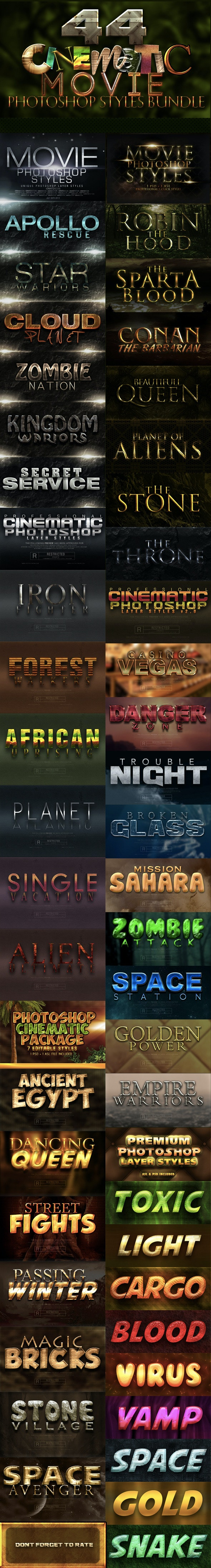 44 Cinematic Movie Styles - Text Effects Styles