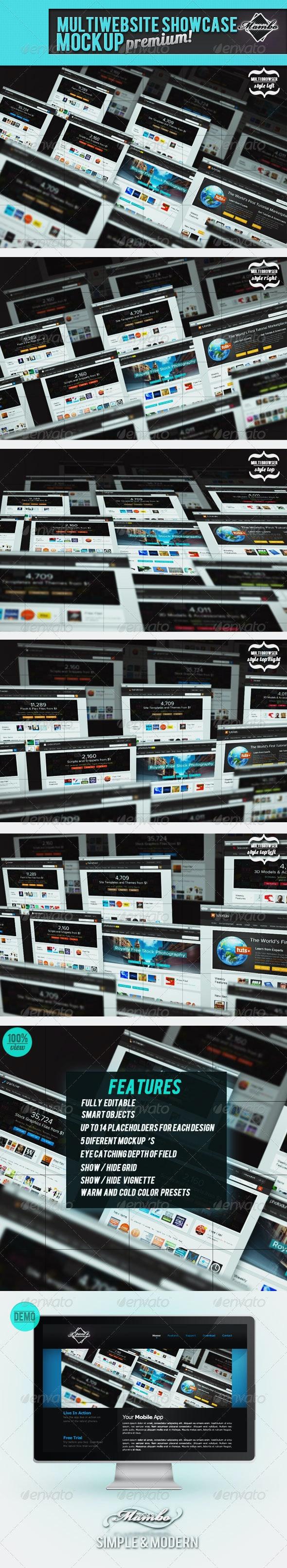 MultiWebsite Showcase MockUp - Website Displays
