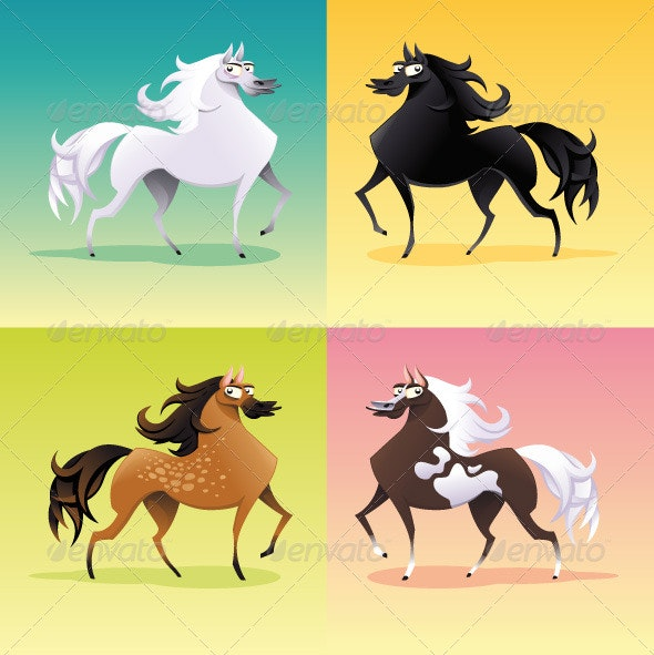 Family of horses. - Animals Characters