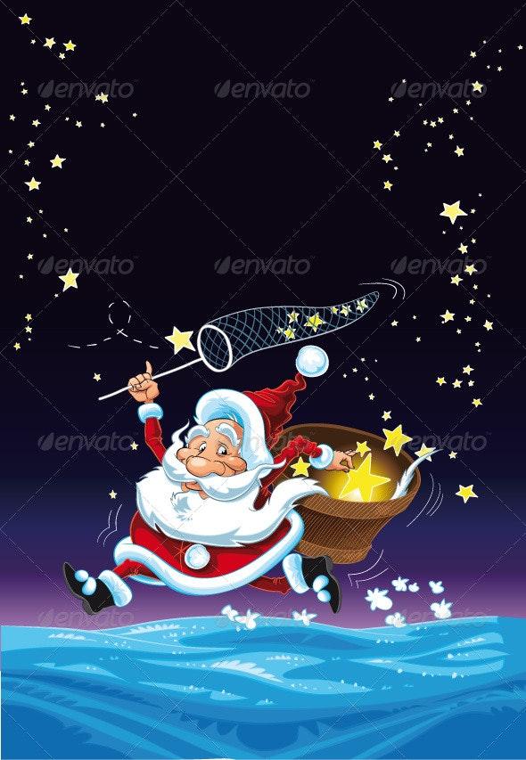 Santa Claus and the Stars.  - Christmas Seasons/Holidays