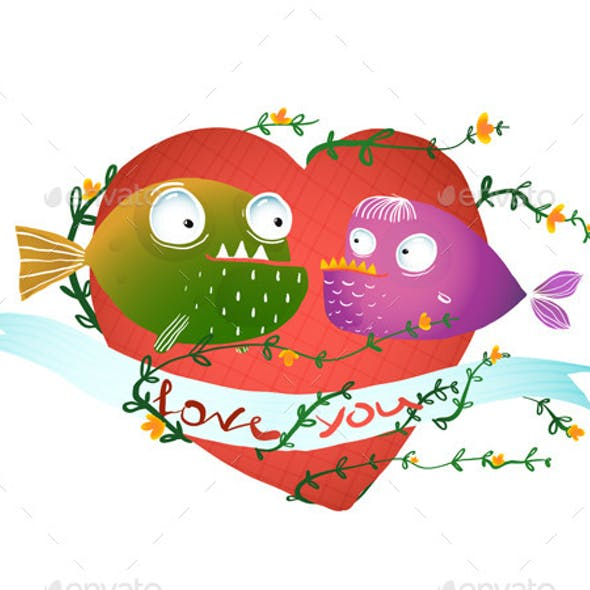 Cartoon Fish in Love with Red Heart for Kids