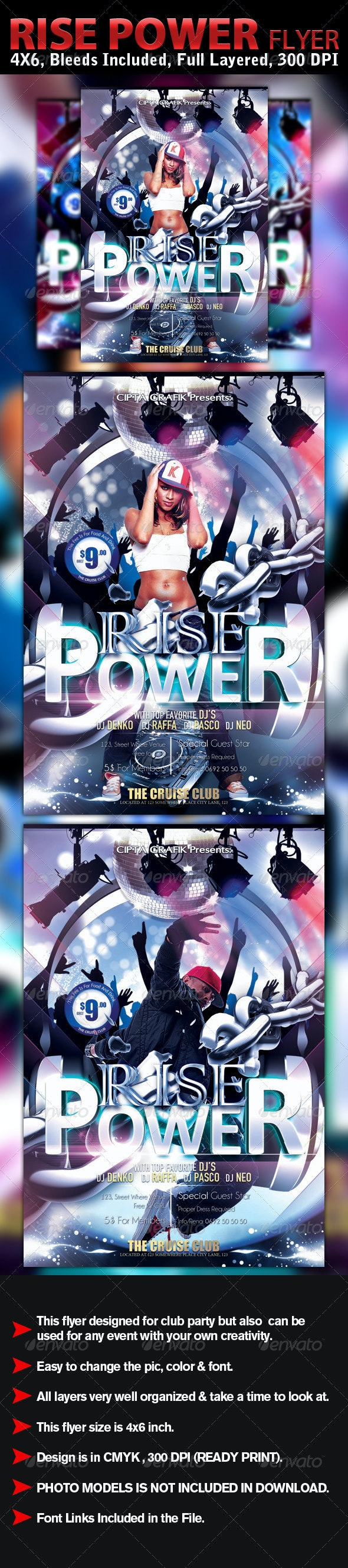 Rise Power Flyer Template - Clubs & Parties Events