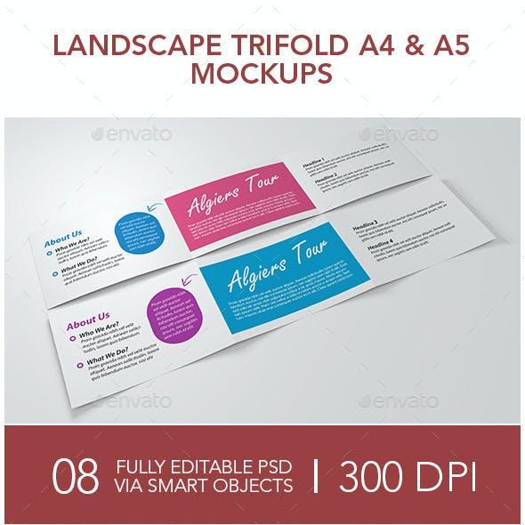 Landscape Trifold A4 & A5 Mockups