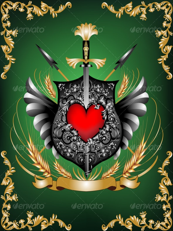 Heraldic shield - Objects Vectors