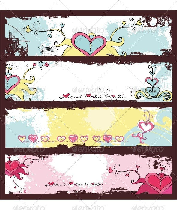 Valentine's Day grunge banners - Valentines Seasons/Holidays