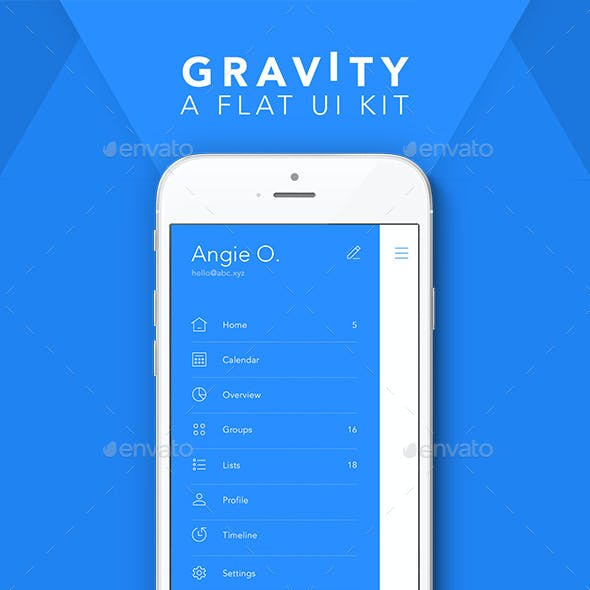 Gravity - Flat Mobile UI Kit