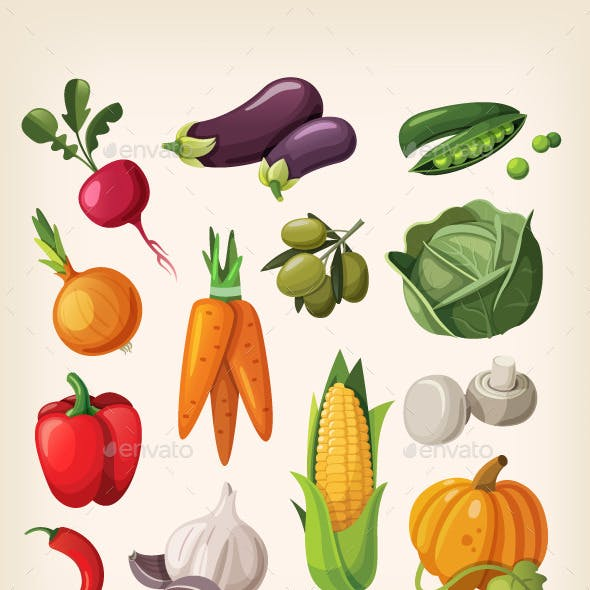 Set of Colorful Common Vegetables.