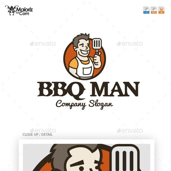 Bbq Man Logotype Template