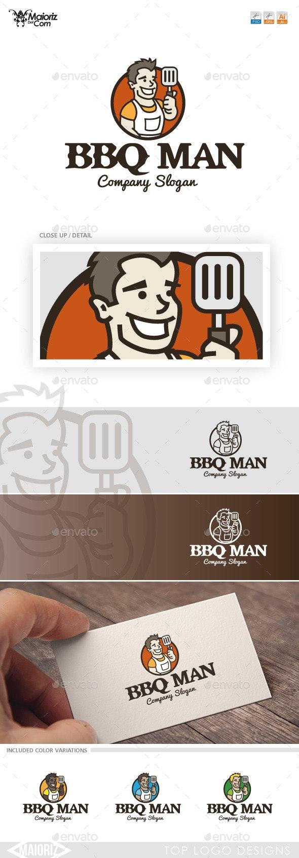 Bbq Man Logotype Template - Humans Logo Templates