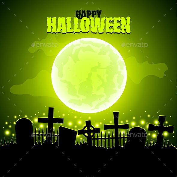 Green Moon and Graveyard Halloween Background