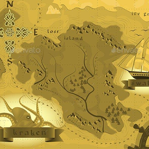 Fantasy Map Treasures with a Kraken