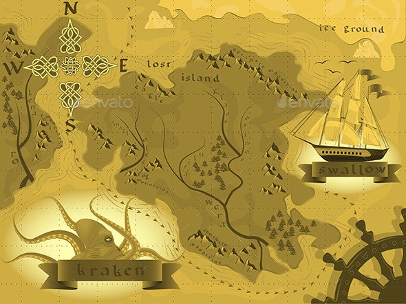 Fantasy Map Treasures with a Kraken  - Travel Conceptual