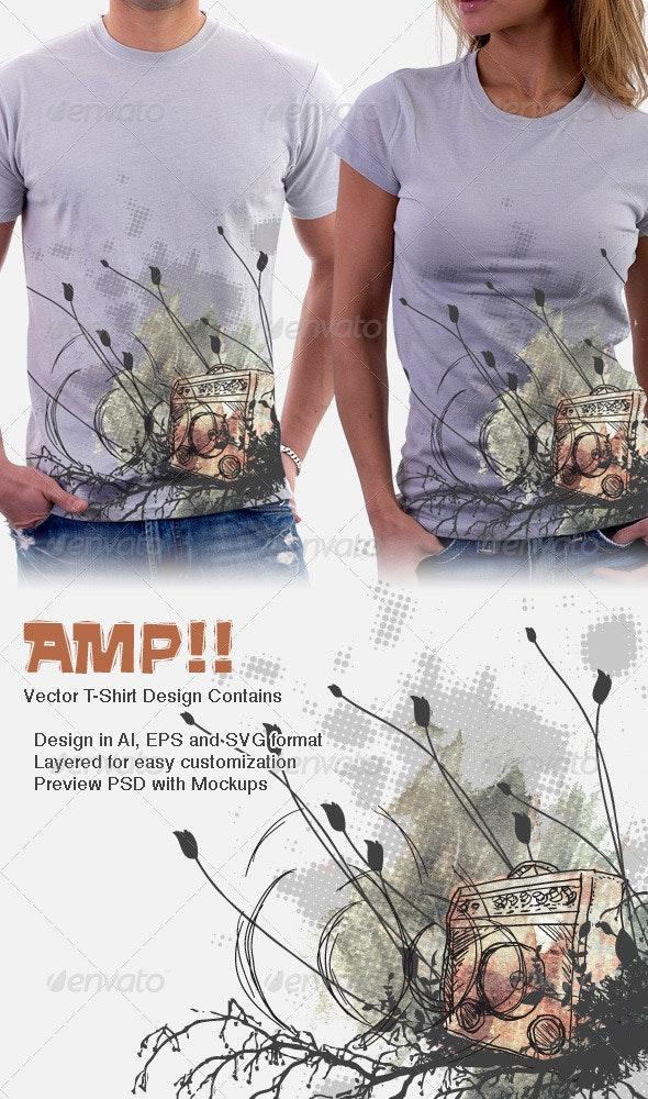 Amp 11 - Amplifier band T-Shirt Design - Grunge Designs