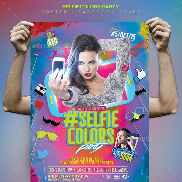 Selfie Colors Night Flyer / Poster / Facebook Cover