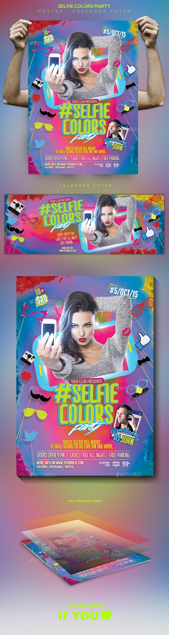 Selfie Colors Night Flyer / Poster / Facebook Cover - Clubs & Parties Events
