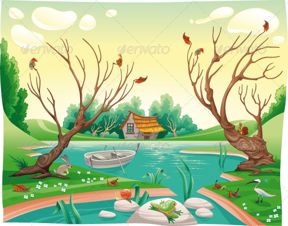 Pond and animals.  - Landscapes Nature
